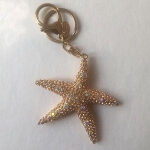 Gold starfish Key Ring Chain